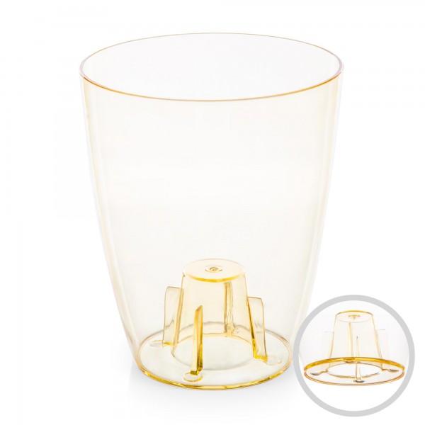 Orchideentopf - Durchmesser 132 mm - transparent / orange - rund