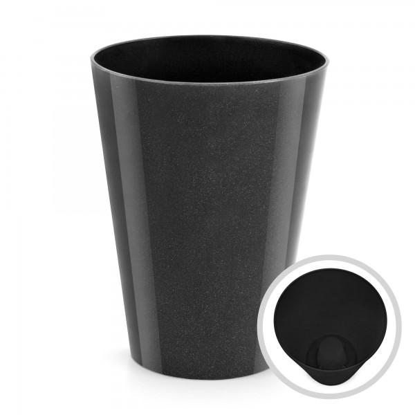 Blumentopf Coubi - Höhe 170 mm - glänzend graphit - rund
