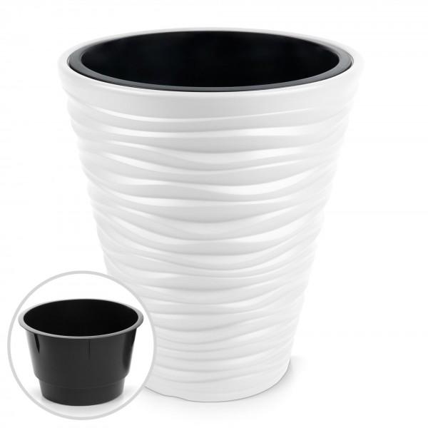 Kunststoff Blumentopf Wüstensand Optik + Einsatz - weiß Ø 345 mm