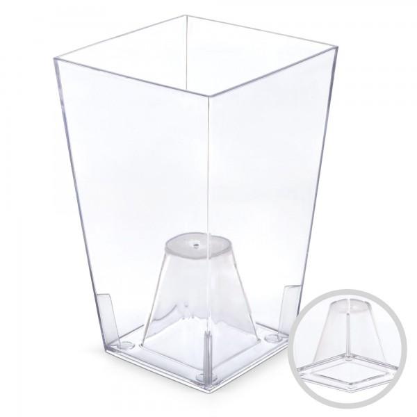 Orchideentopf - Höhe 200 mm - transparent / weiß - eckig
