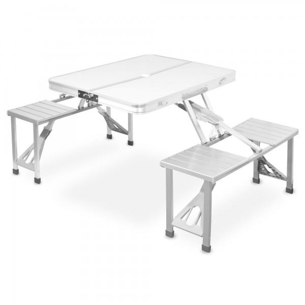 Ausklappbare Camping-Essgruppe Alu - Tisch + 4 Stühle