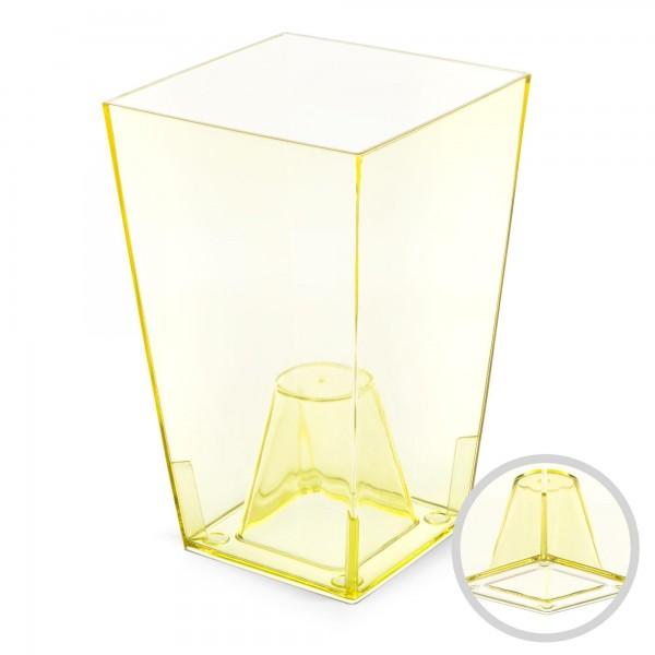 Orchideentopf - Höhe 200 mm - transparent / gelb - eckig
