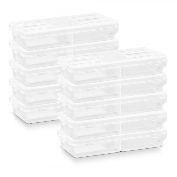 10 x Kunststoff Sortimentskasten transparent mit 5 Fächern - 180x90x35 mm