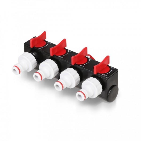 Berlan - 4-Wege-Verteiler mit Hahnanschluss