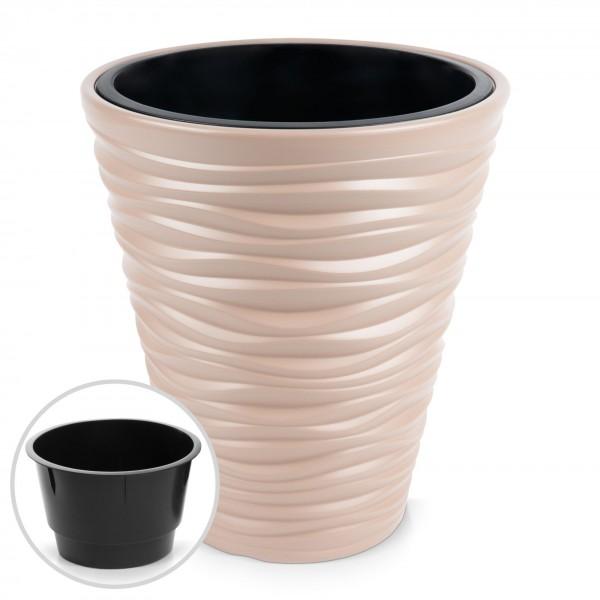 Kunststoff Blumentopf Wüstensand Optik + Einsatz - mocca Ø 345 mm