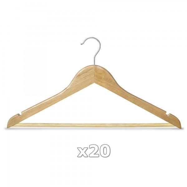 20 Stück Kleiderbügel Holz natur mit Hosenstange