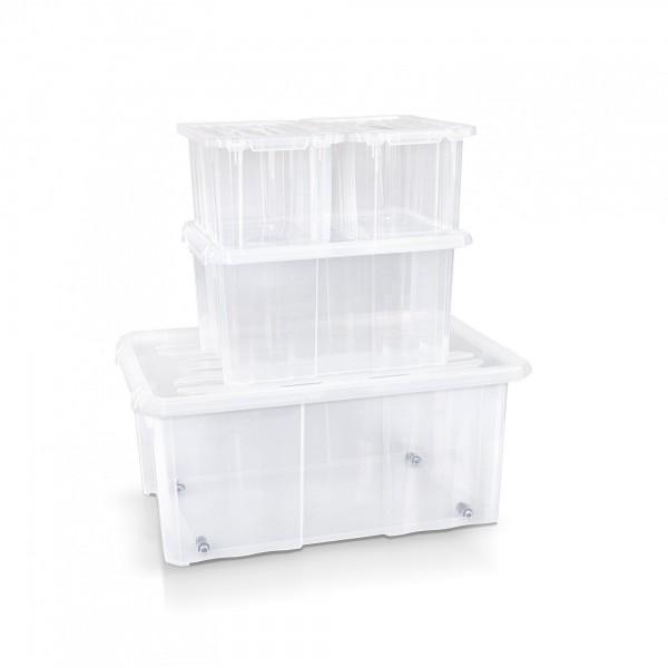 4-tlg.Set Aufbewahrungsbox 2x30/40/60 cm transparent + Deckel