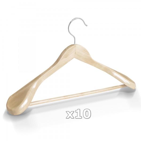 10 Stück Kleiderbügel Holz breite Schulterauflage mit Hosenstange - Natur
