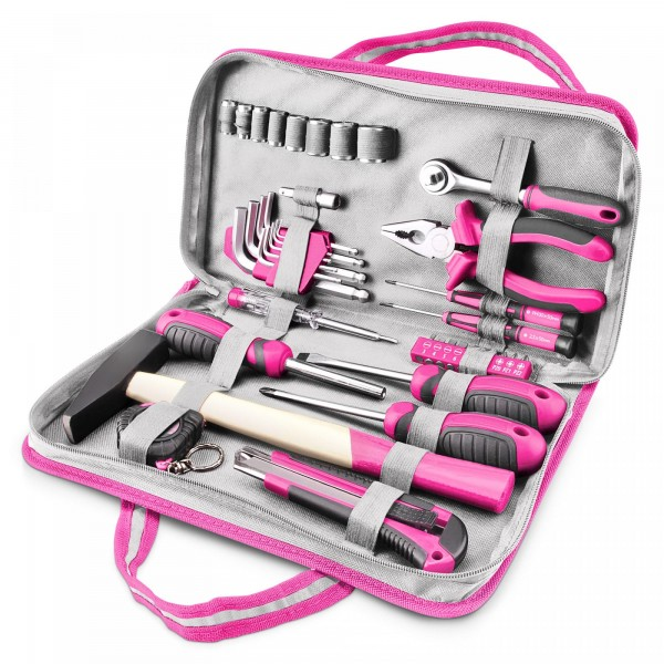 """Werkzeugtasche für Frauen - pink - 39 Teile - 1/4"""""""