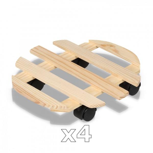 4 Stück Holz Pflanzenroller - 32 cm mit 4 Rollen - rund