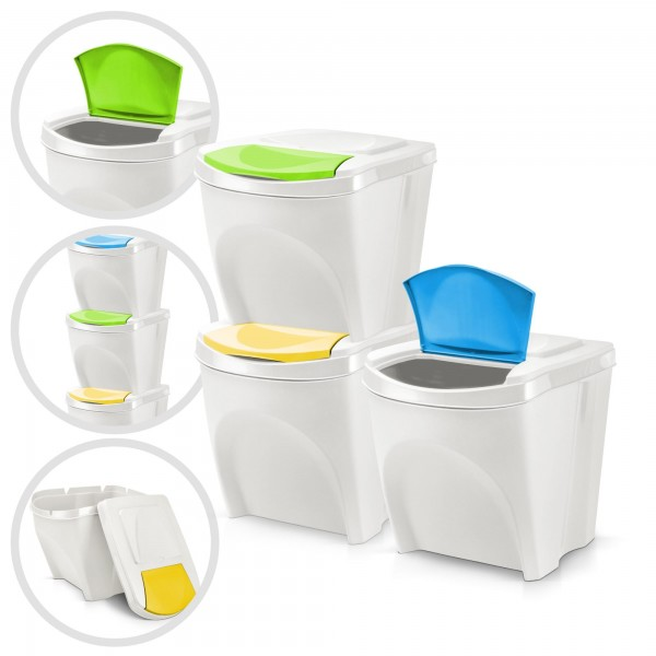 3er Set Kunststoff Mülleimer - weiß- 3 x 20 Liter - stapelbar
