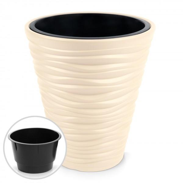 Kunststoff Blumentopf Wüstensand Optik + Einsatz - creme Ø 345 mm