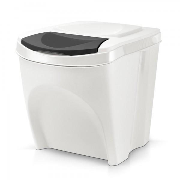 Stapelbarer Kunststoff Mülleimer - weiß - 20 Liter