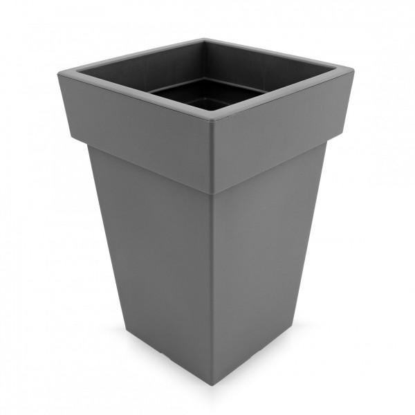 Kunststoff Blumentopf quadratisch - grau - Höhe 293 mm