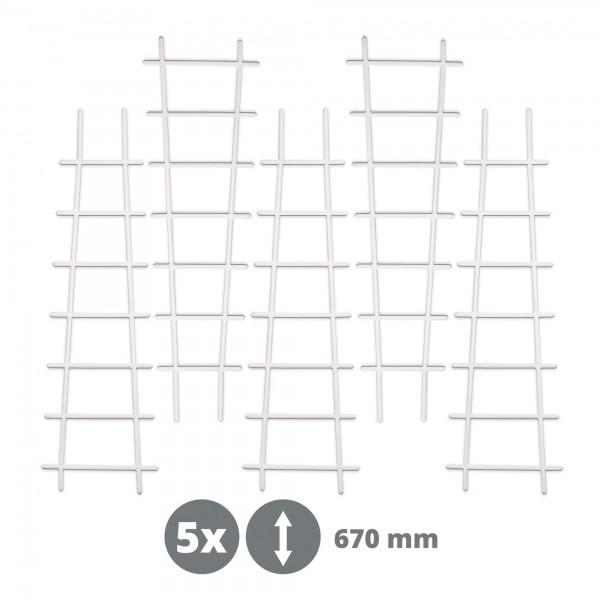 5 x Kunststoff Pflanzstütze in Leiterform - weiß - 200 x 670 mm