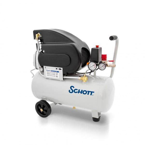 Schott Druckluft Kompressor 24 Liter 8 bar 1500 W - 2 Manometer