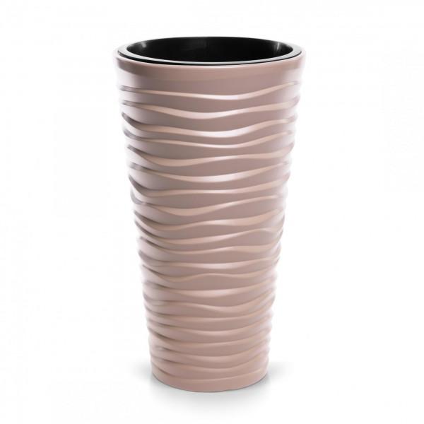 Blumentopf schmal Design Welle in 3D-Optik + Einsatz - mocca Ø 296 mm