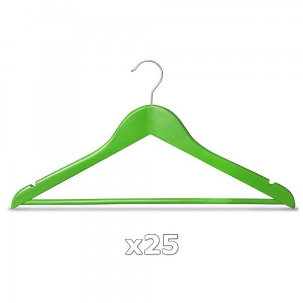 25 Stück Kleiderbügel Holz grün mit Hosenstange