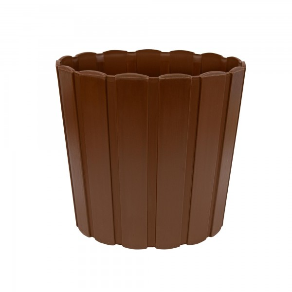 Kunststoff Blumentopf mit Brettmuster - 144 mm Durchmesser - braun