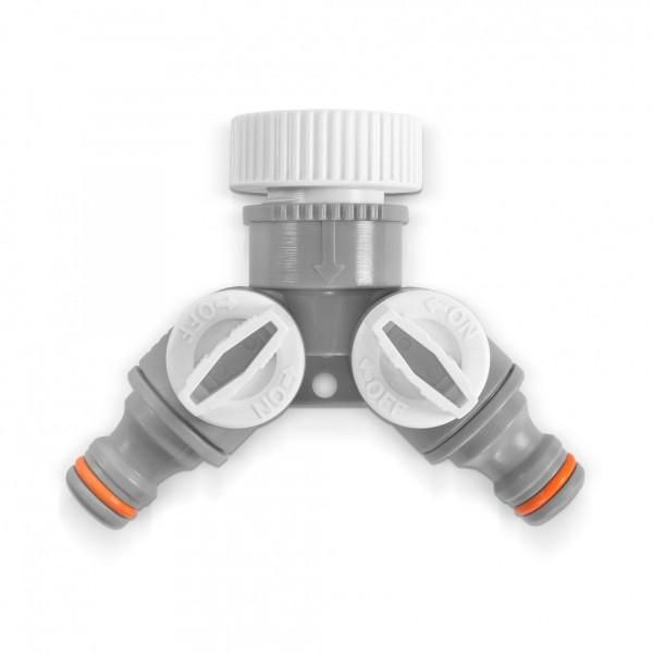 2-Wege-Ventil mit G 3/4'' + 1'' Schlauchverteiler - regelbar