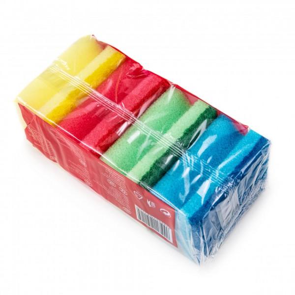 3 + 1 Set Reinigungsschwämme in 4 Farben - 2-seitig - 80 x 70 x 45 mm