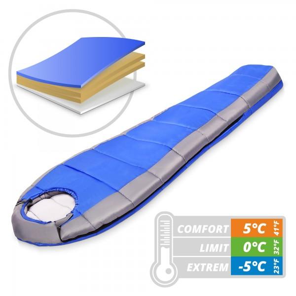 Schlafsack mit Kapuze 230 x 80 cm - blau/grau - bis -5 °C