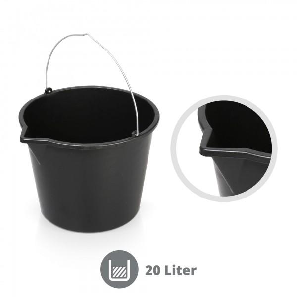 20 Liter Mörteleimer mit Gießrand schwarz