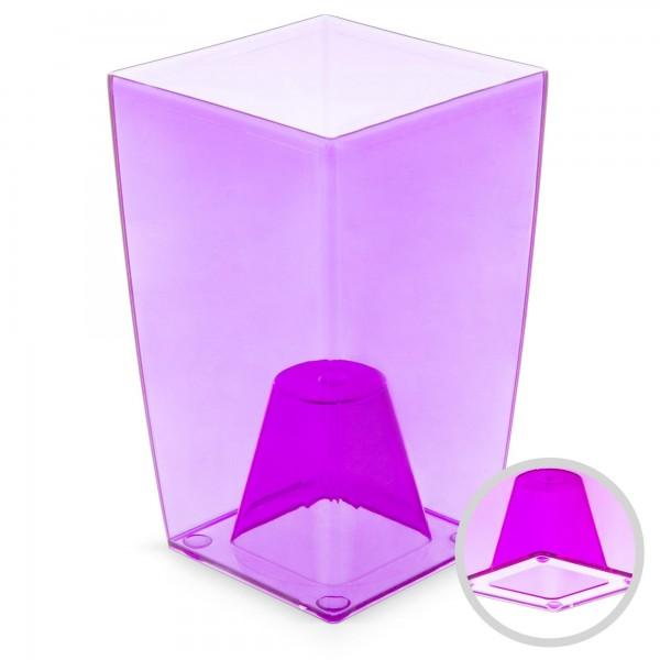 Orchideentopf - Höhe 200 mm - transparent / lila - eckig