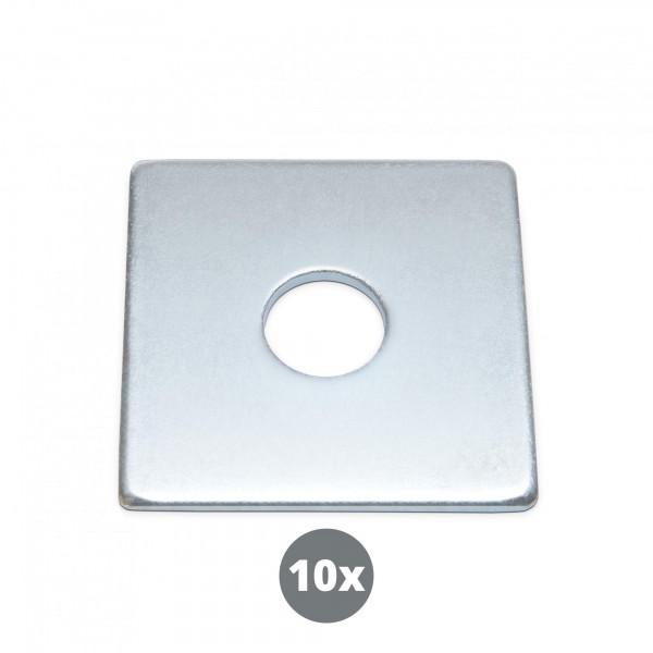 10 Stück Quadratische Unterlegscheiben - M 12 x 50 mm