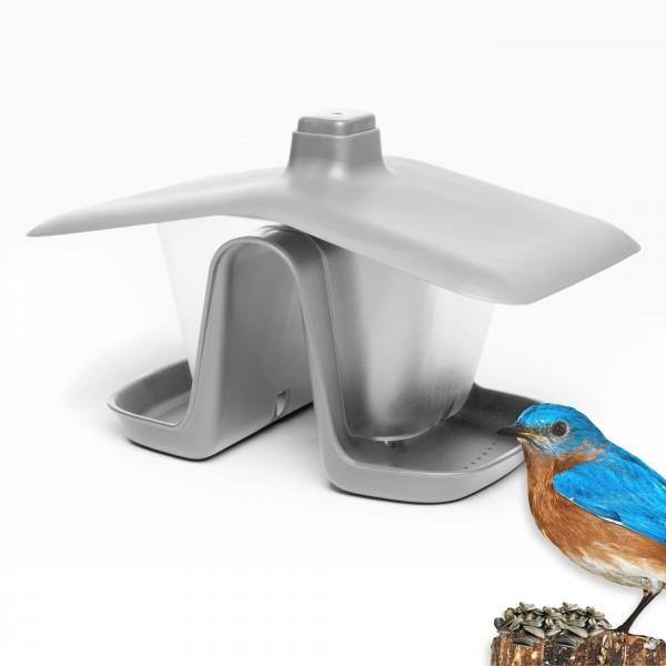Zweikammer Vogelhäuschen mit Seil und Haken - grau