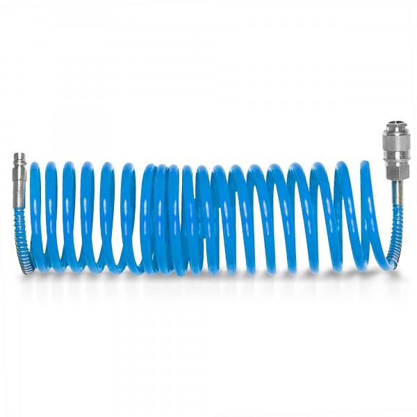 10 m Druckluft Spiralschlauch 6mm mit Schnellkupplung