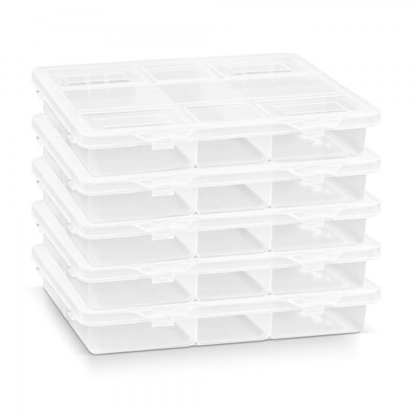 5 x Kunststoff Sortimentskasten transparent mit 5 Fächern - 200 x 160 x 35 mm