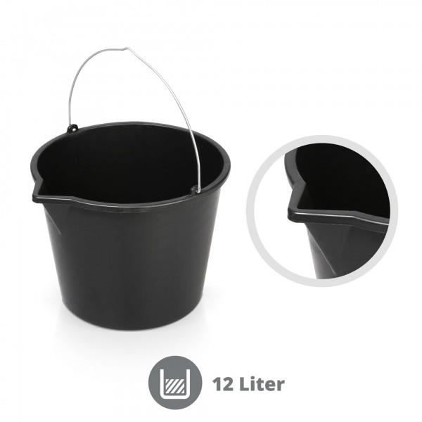 12 Liter Mörteleimer mit Gießrand schwarz