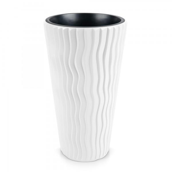Kunststoff Blumentopf Wüstensand schmal + Einsatz - weiß Ø 390 mm