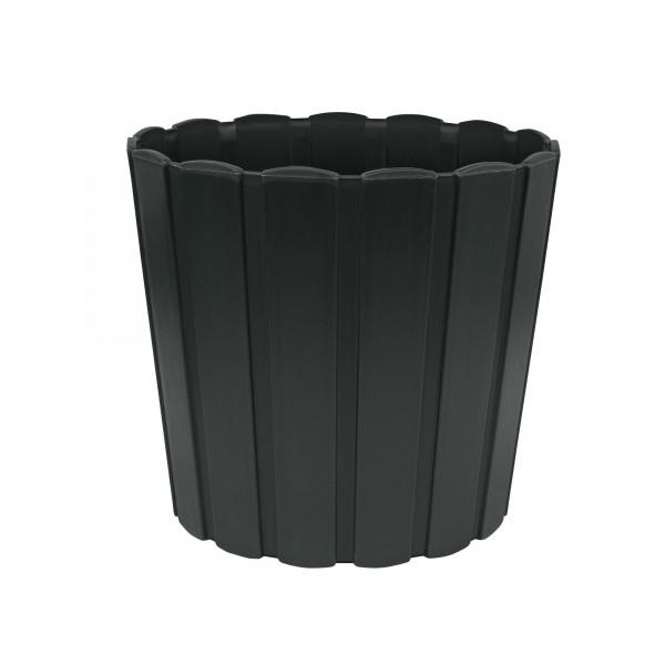 Kunststoff Blumentopf mit Brettmuster - 144 mm Durchmesser - anthrazit