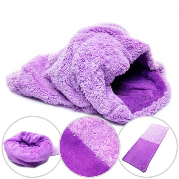 3in1 Decke Deluxe - Schlafsack - Kissen für Hunde und Kleintiere - Lila