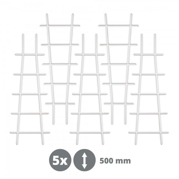 5 x Kunststoff Pflanzstütze in Leiterform - weiß - 183 x 500 mm