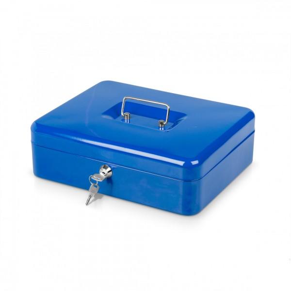 Geldkassette blau mit Münzeinsatz + 2 Schlüssel - 30 x 24 x 9 cm