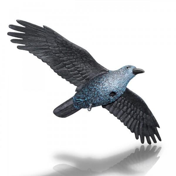 Rabe fliegend - Spannweite 82 cm - mit Stock und Aufhängung
