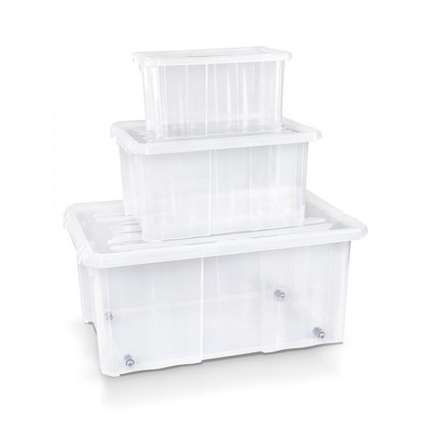 3-tlg.Set Aufbewahrungsbox 30/40/60 cm transparent + Deckel