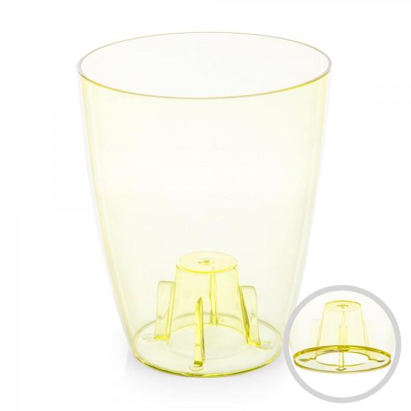 Orchideentopf - Durchmesser 132 mm - transparent / gelb - rund