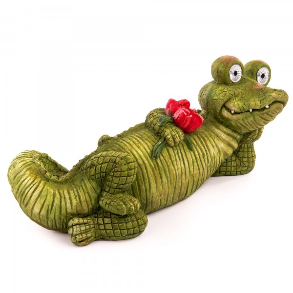 "Solartier Krokodil ""Blume"" mit 2 Solar LED Augen - 55,5 x 23 x 25 cm"