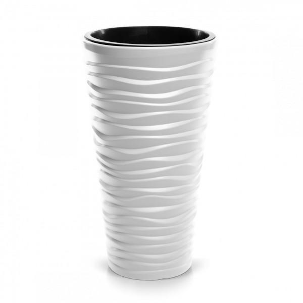 Blumentopf schmal Design Welle in 3D-Optik + Einsatz - weiß Ø 349 mm