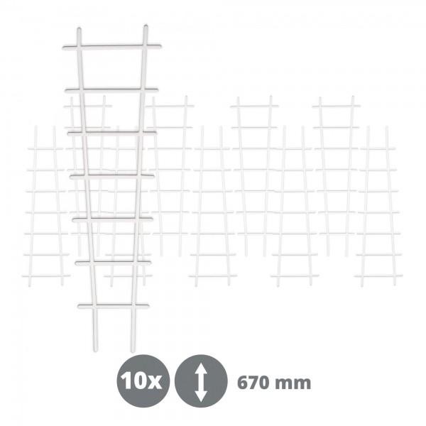 10 x Kunststoff Pflanzstütze in Leiterform - weiß - 200 x 670 mm