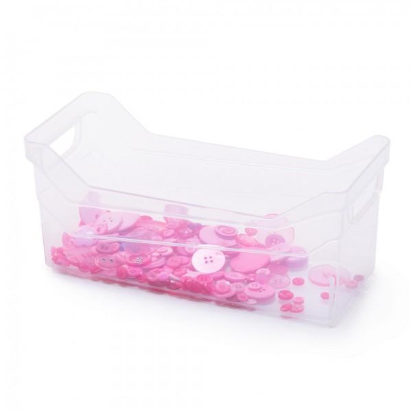 Kunststoff Aufbewahrungsbox mit Griffen - transparent - 28 x 12 x 12 cm