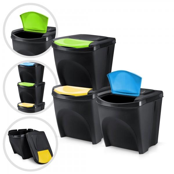 3er Set Kunststoff Mülleimer - schwarz - 3 x 20 Liter - stapelbar