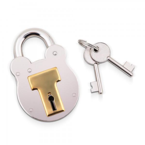 Englisches Vorhängeschloss Stahl/Messing mit 2 Schlüsseln