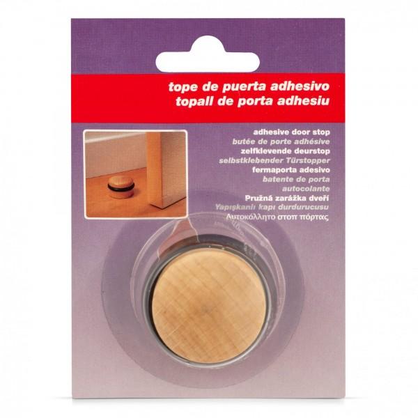 Türstopper aus Buchenholz mit Gummiring - rund - selbstklebend