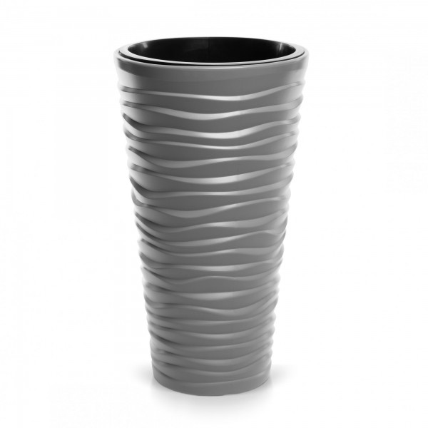 Blumentopf schmal Design Welle in 3D-Optik + Einsatz - steingrau Ø 296 mm