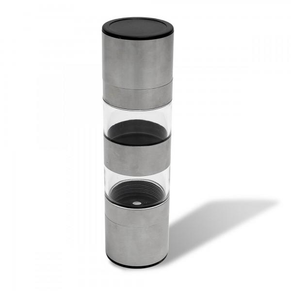 2 in 1 Pfeffer- und Salzmühle Edelstahl - 18,5 x 5 cm